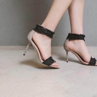 [Show products clear] 沁 cool around black denim leather stiletto sandals