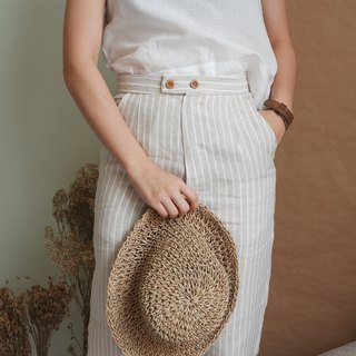 Vintage Linen Pants : White Stripe