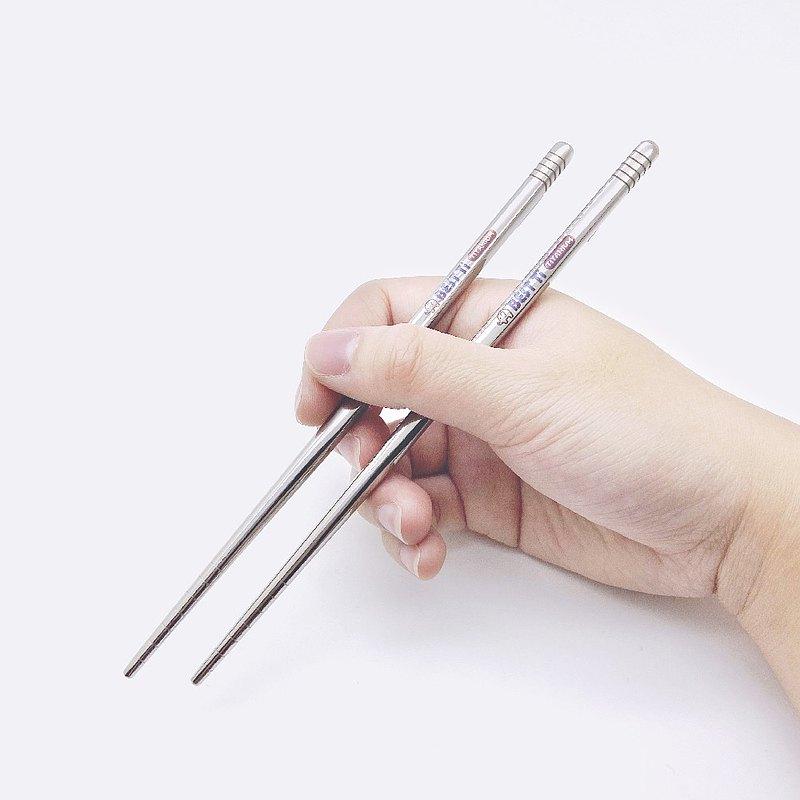 純鈦環保餐具 純鈦亮面短筷 附收納袋