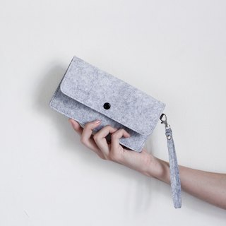 Simple wool felt mobile phone carry bag / wrist strap - light gray light gray ash about 6 吋 size available