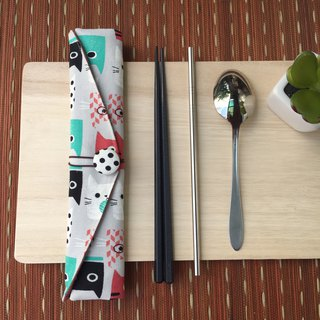Adoubao-Chopsticks set with bag - gray & square face cat