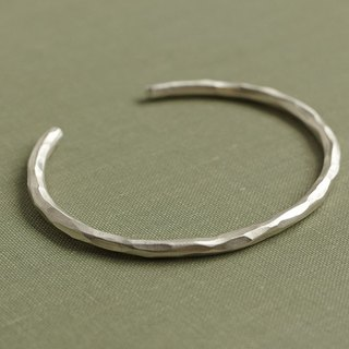 Rock C-shaped bracelet forging / sterling silver / bracelet