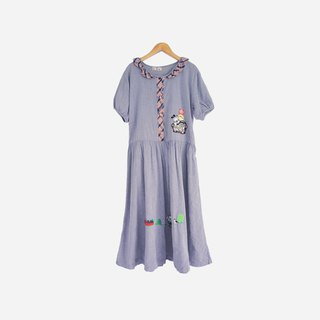 Dislocation vintage / Babu bean dog cartoon gray blue lotus leaf collar dress no.846 vintage