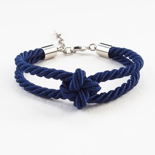 Navy blue square knot rope bracelet