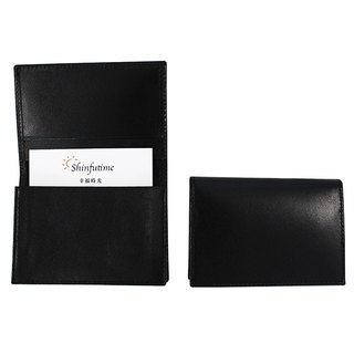 LAPELI │ plain cow leather business card holder black