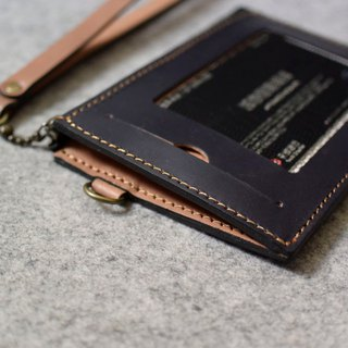 YOURS leather two-stage personalized wallet + certificate window / black grid gray blue leather