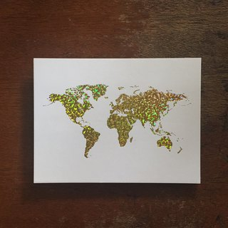Limited / World Map Postcard / Laser Gold