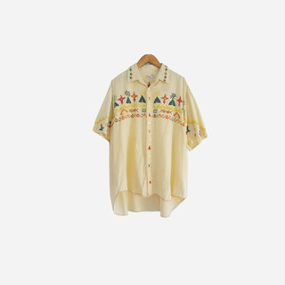 Dislocation vintage / handmade ethnic illustration embroidery short-sleeved shirt no.876 vintage