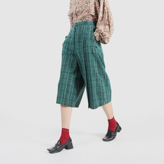 [Egg plant ancient] light and green grid printing ancient wide leg trousers