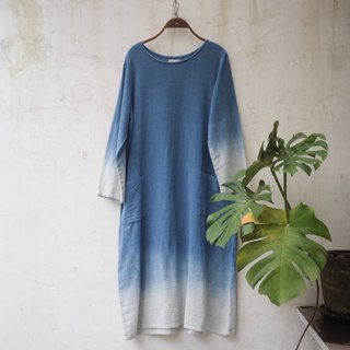 ~Sea Shade l natural indigo dyed cotton dress