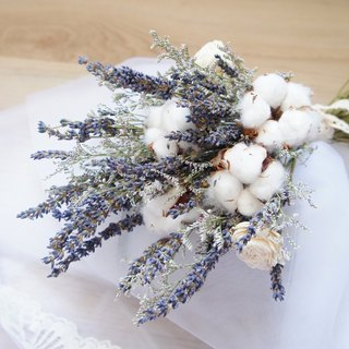Hand-made dried flowers / non-withered flower wedding flower series ~ Southern style lavender cotton hand-tied bridal bouquet / photo props / natural wind wedding / hand tied bouquet ~