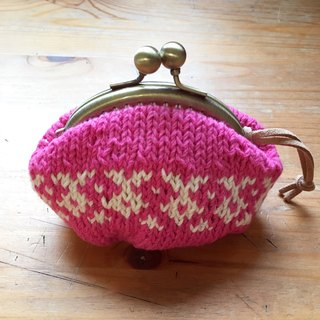 Own weave pink red through white gold coin purse