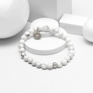 Recovery glossy 6MM beaded bracelet (white)