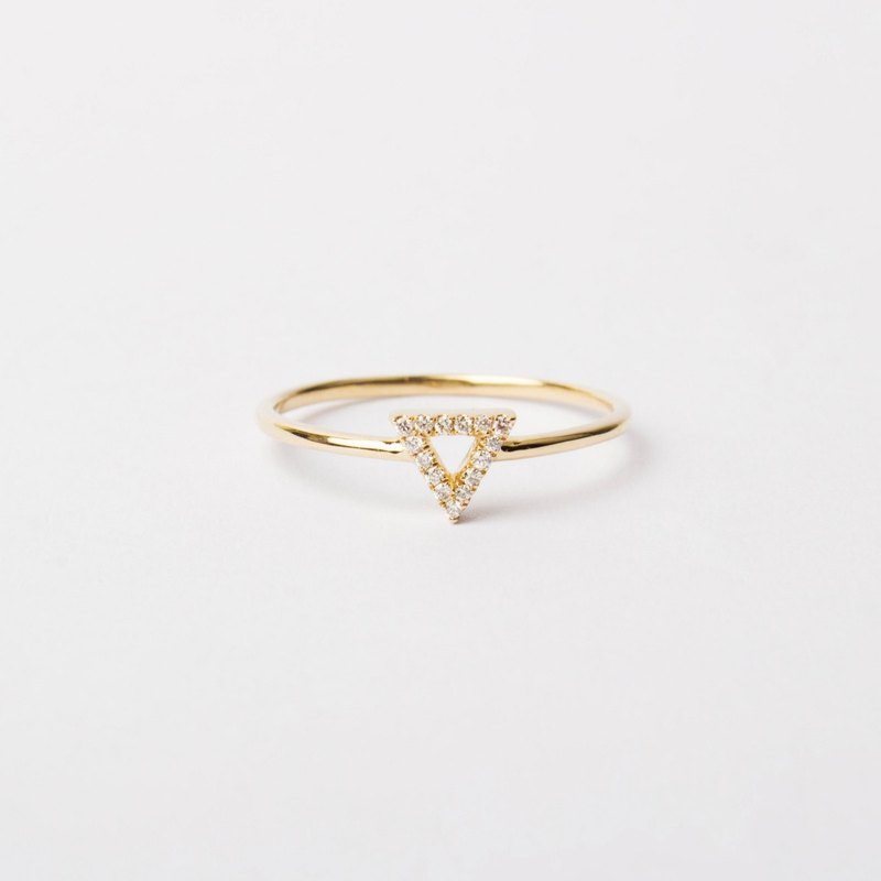 天然鑽石密釘鑲純 14K 金空心三角形細戒 | 客製手工 混搭疊搭