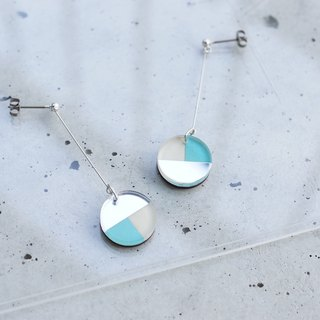 Swing Three tone mirror earrings / mint-silver