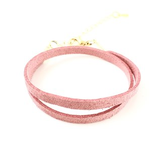 Pink color - suede roping bracelet (also can be used as a necklace)