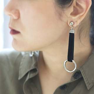 Black velvet ribbon drop hoop earrings, Drop hoop earrings, Drop circle earrings, Long circle earrings, Ribbon Earrings, Round Earrings,  Dangle & Drop Earrings
