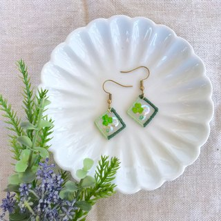 Handmade Embroidery // Floating Window Hook Earrings - Clover Grass / / Clipable
