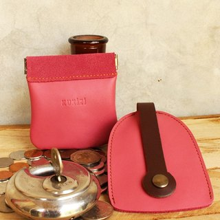 Set of Coin Bag & Key Case - Pink + Brown Strap (Genuine Cow Leather)
