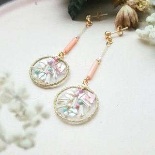 Pink Bubbles - Double-Sided Embroidered Earrings