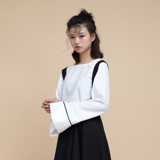 kitann ino independent design special cut loose solid color square collar horn sleeve shirt female spring long sleeve base