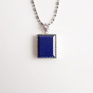 [Gemstones] Night sky natural ore lapis lazuli 925 silver • Necklace (gift alloy chain)