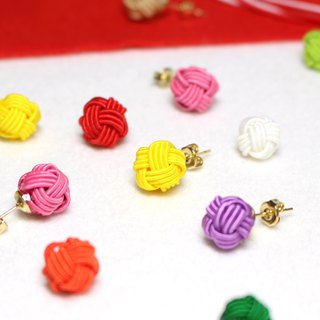 japanese style pierce / earring / mizuhiki / japan / accessory / ball / kawaii