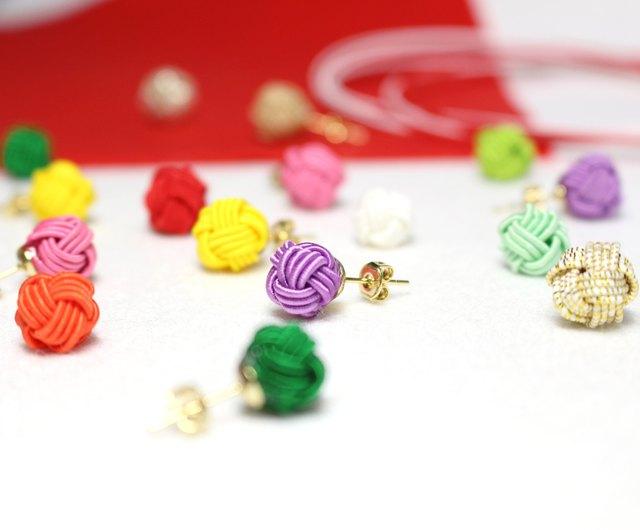 Mizuhiki sphere earrings handmade Japanese accessory