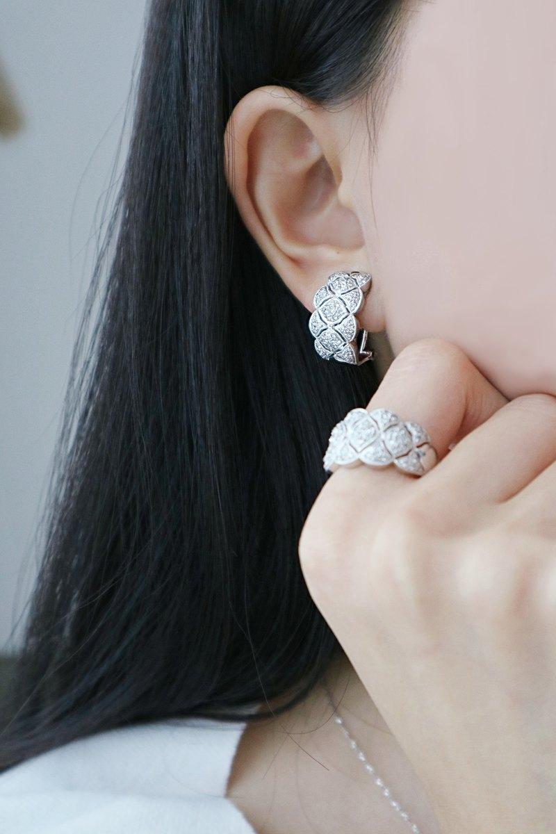 雲朵個性鑽石耳環