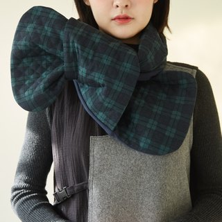 Green plaid British double-sided use bowknot scarf