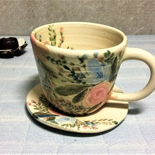 Happy bouquet afternoon tea cup set (wide mouth) _ pottery mug
