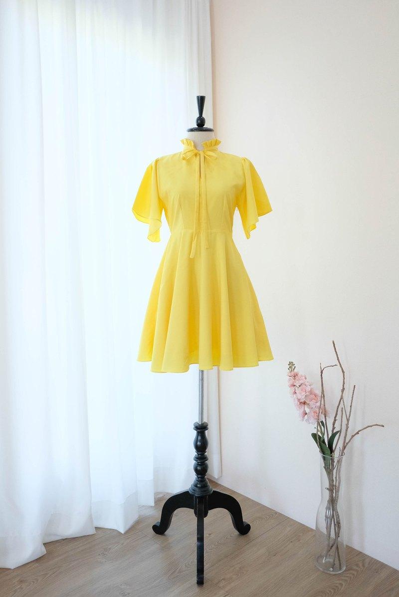 復古連衣裙黃禮服適合旅行的伴娘禮服