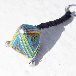 Christmas gift exchange gift Valentine's Day gift hand handmade embroidery strap / triangle key ring / feel embroidery key ring - desert national embroidery geometric triangle