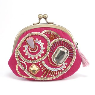 A wide opening tiny purse, coin purse, pill case, gorgeous pink pouch, No,8