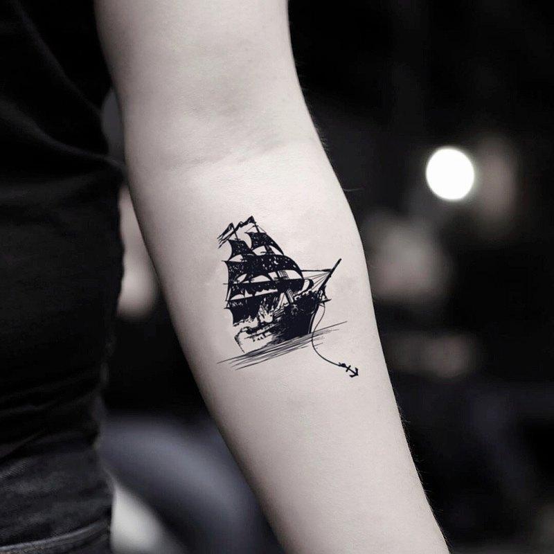 OhMyTat 黑珍珠帆船 Black Pearl 刺青圖案紋身貼紙 (2 張)