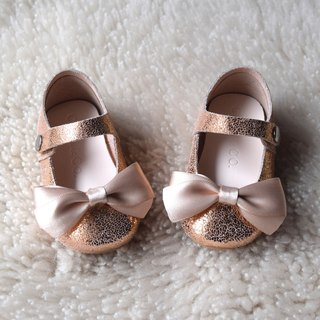 Rose Gold Baby Girl Shoes with Satin Ribbon Bow, Flower Girl Shoes