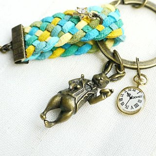 Paris * Le Bonheun. Well hand-made. Qi woven leather key ring strap English words. Mr. Rabbit Sleepwalking