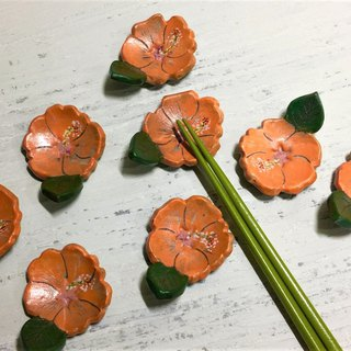Bright orange Hawaiian chopstick holder_Ceramics chopsticks holder