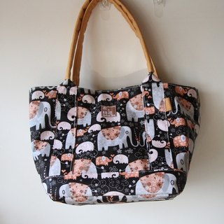 Cotton Fabric: Tote bag, Shoulder bag,  Waterproof materials, brown elephant