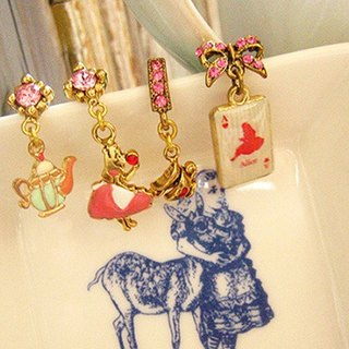 [Jolie baby] Alice Colorful Series - Alice tea party poker earrings set