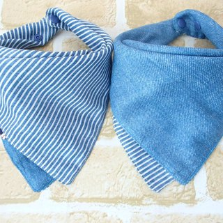 Baby Bib, Reversible Bandana Bib, Japanese Double Gauze Cotton, Blue Denim