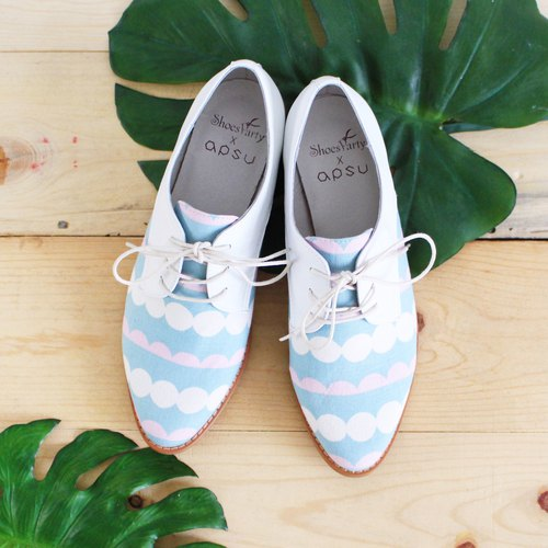 Baiyu candy bubble drink Derby shoes / women's shoes / handmade custom / Japanese fabric / M218410F