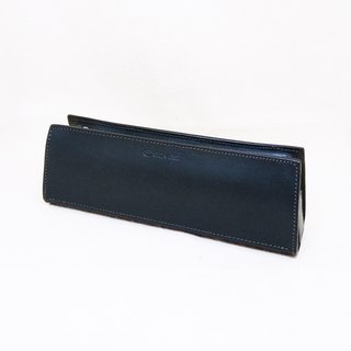 Japanese pure leather universal black pencil case