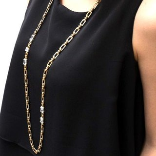 Retro brass square zircon necklace