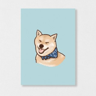 """Shiba Inu - squinting"" Planet Flies / Shiba Inu / wool kids / illustration postcards / Hands Bazaar"