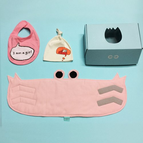 Pinkoi limited combination x CLARECHEN elegant sunny little happy happy combo 1 crab anti-cool belly Wai + ㄧ sound bib + an organic red envelope hat