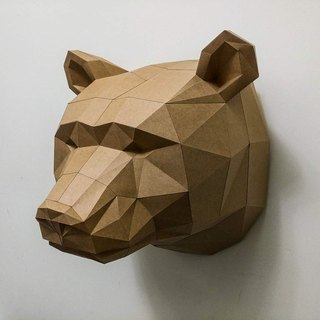 3D Paper Model _ brown bear wall decoration _DIY Kits_ hand-made portfolio