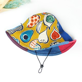 Xiaoniu Village handmade double-sided hats men and women large hats visor can be bent wind rope detachable vegetables and fruits Japanese illustration [onion and avocado] mustard yellow [HB-12] limited edition