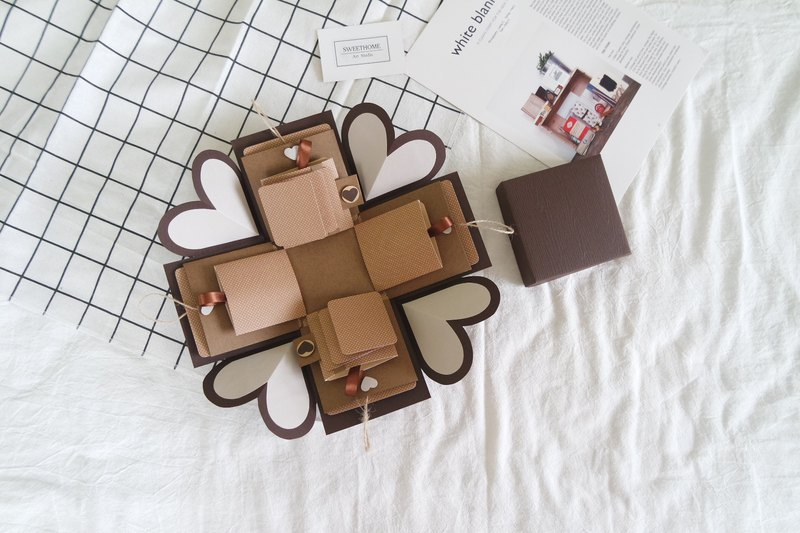 Sweet Home Gift Box Card Caramel Macchiato Handmade Card