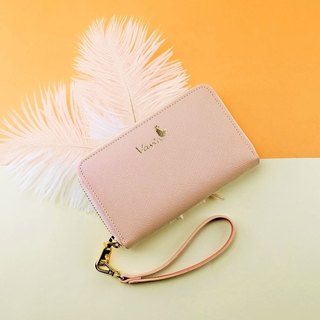 Rose Quartz(Gold Logo) Medium Zip Around Wristlet ,Cow Leather
